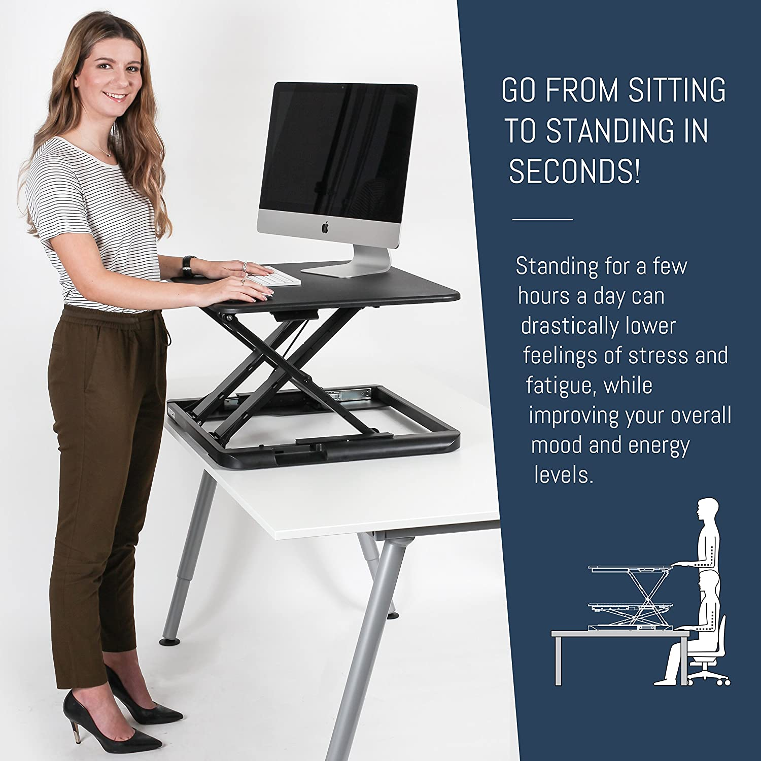 Wuteku – Sit Stand Desk – Noir – 1 Lot 5060494270094