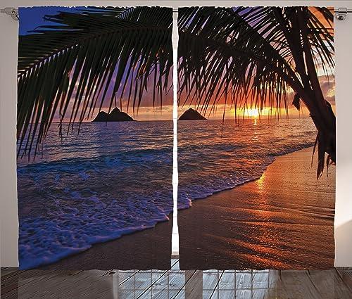 Best window curtain panel: Ambesonne Hawaiian Curtains