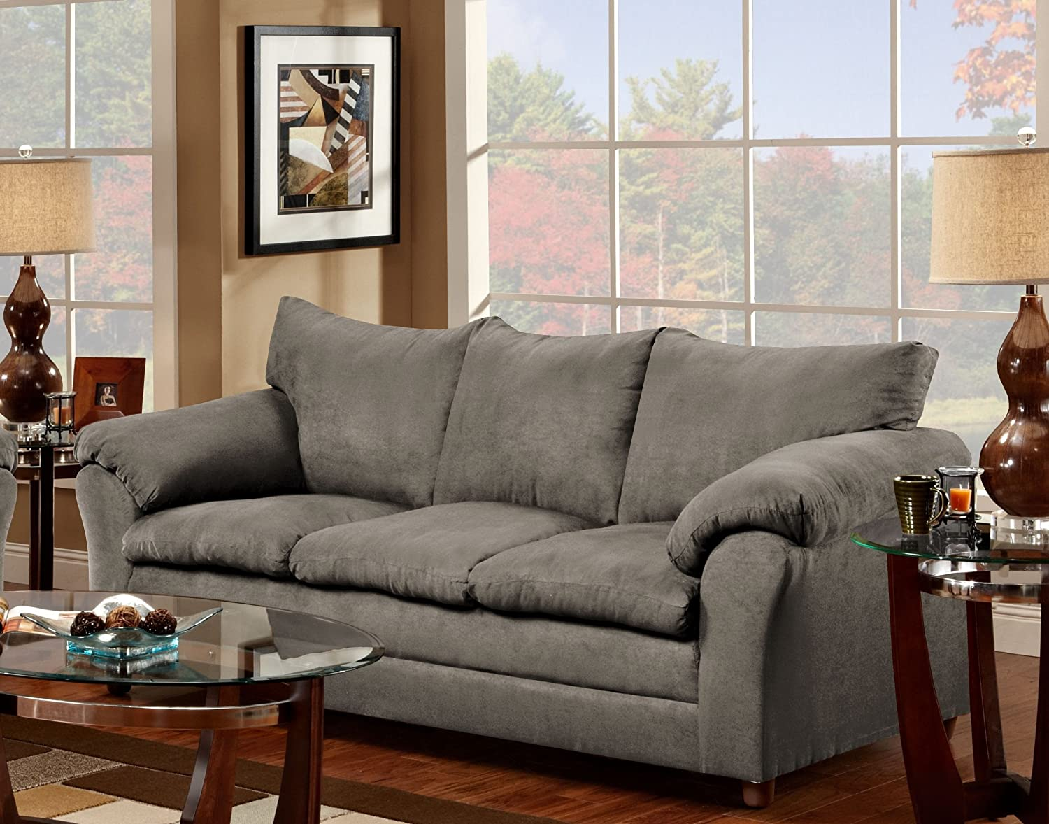 Amazon.com: Chelsea Home Furniture Gail Sofa, Flatsuede Graphite: Kitchen U0026  Dining