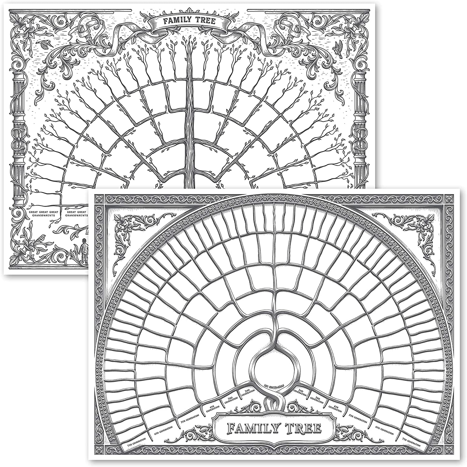 18 x 24 Blank Fillable Ancestry Chart 2 Pack Version 1 /& 2 Family Tree Charts to Fill in- 6 Generation Genealogy Poster