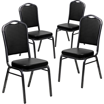 Flash Furniture 4 Pk. HERCULES Series Crown Back Stacking Banquet Chair In  Black Vinyl