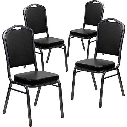Flash Furniture 4 Pk. HERCULES Series Crown Back Stacking Banquet Chair In  Black Vinyl