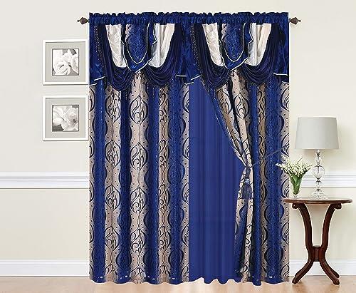 VICTORIAVILLE Signature Natalia Curtain Set, Navy Blue, 60 L X 84 W Inches, Set of 2