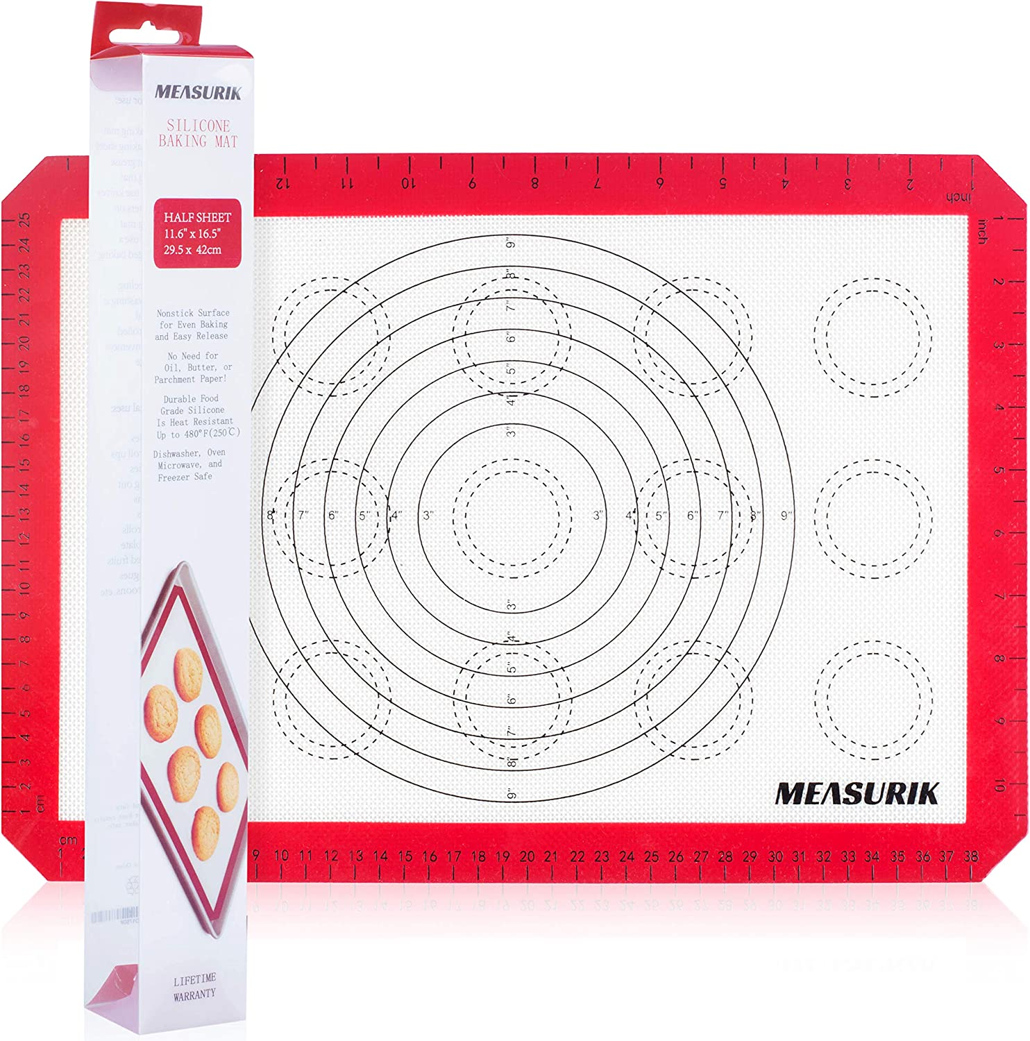 Silicone Macaron Baking Mat - Single Non-Stick 11 5/8''(W)16.5''(L) US Half Size Baking Pastry Sheet, Food Grade BPA Free Reusable Oven Liner Baking With Measurement