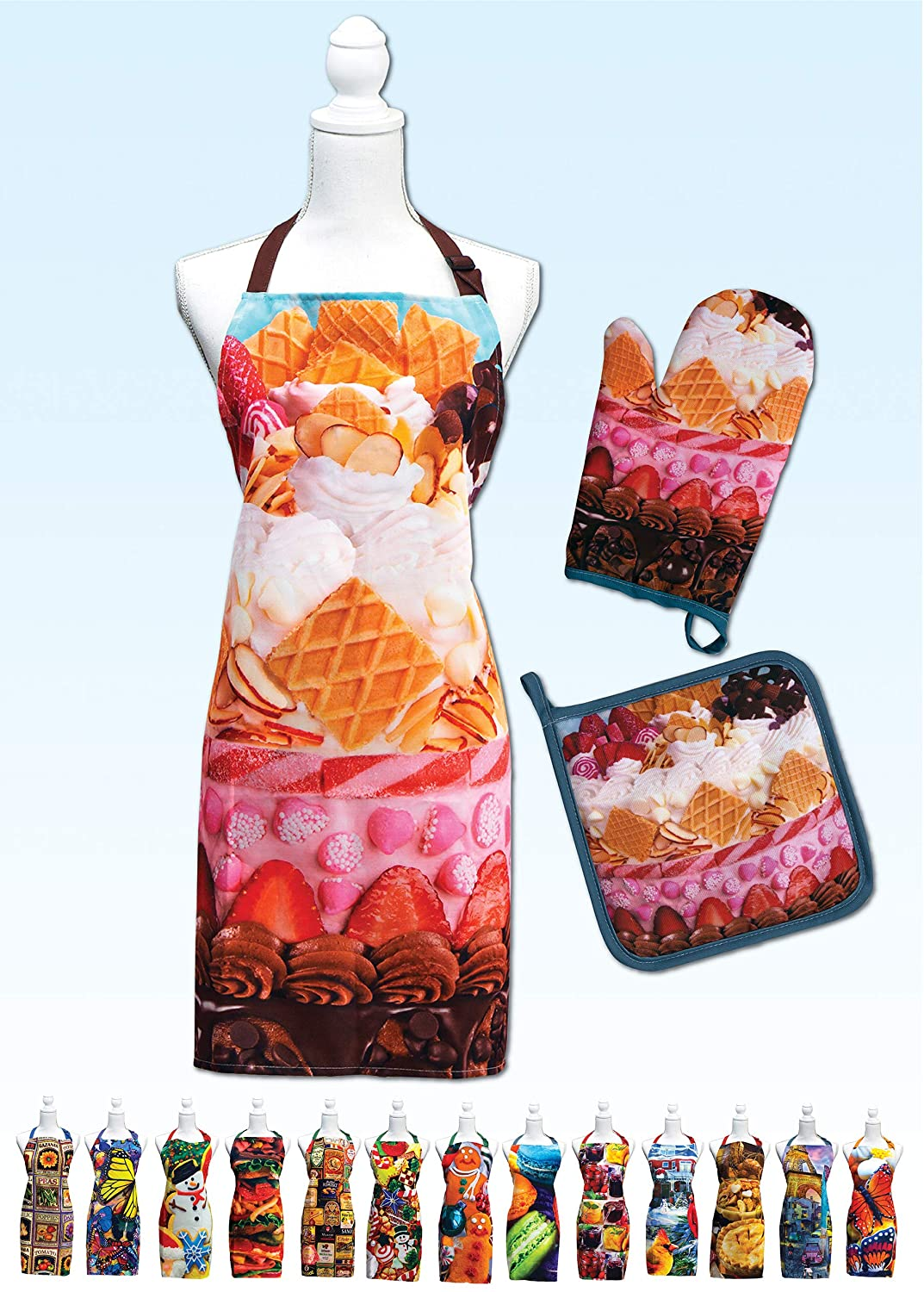 Springbok Icing on The Cake Adjustable Kitchen Apron, Oven Mitt and Pot Holder Set