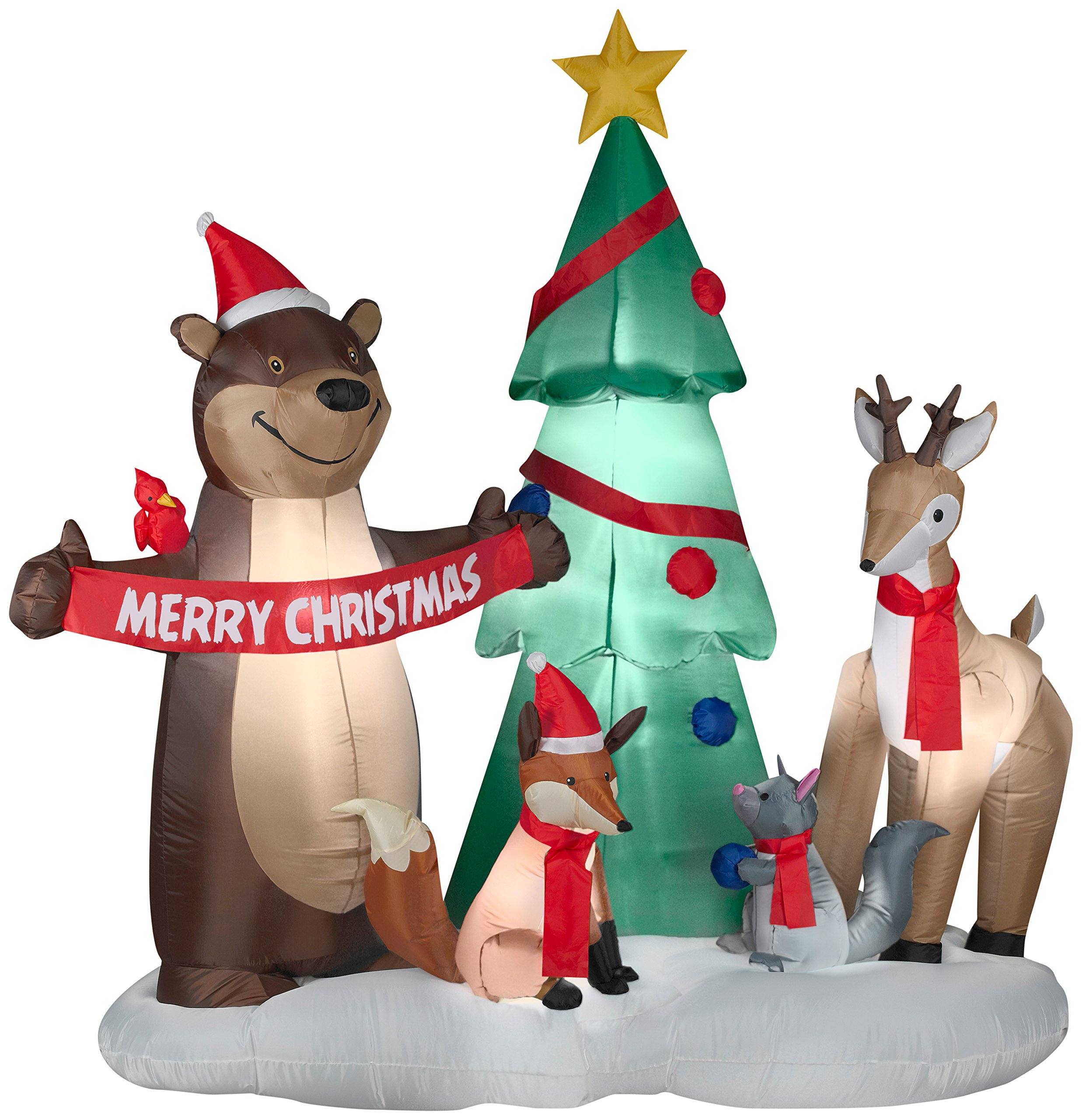 Gemmy Christmas Inflatable Forest Animal with Merry Christmas Banner Scene, 6 1/2-Feet