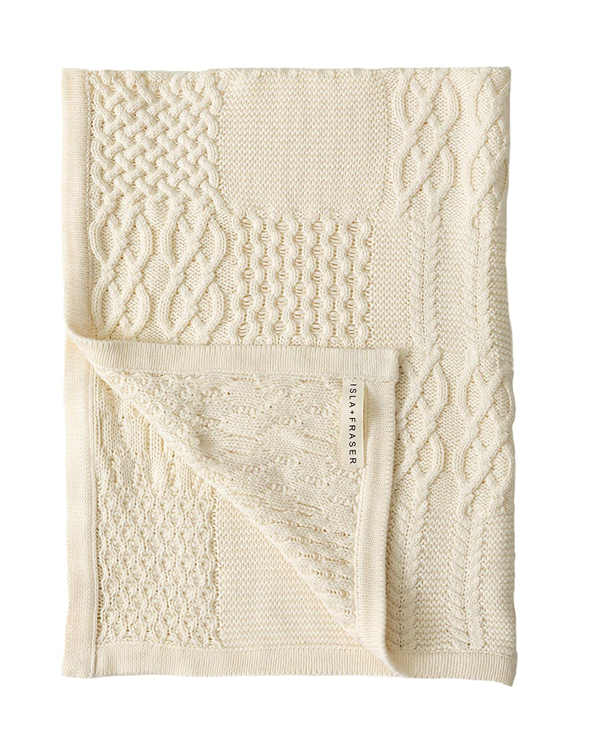 Isla Fraser Organic Cotton Baby Blanket 70cm x 90cm Cream Cable Knit