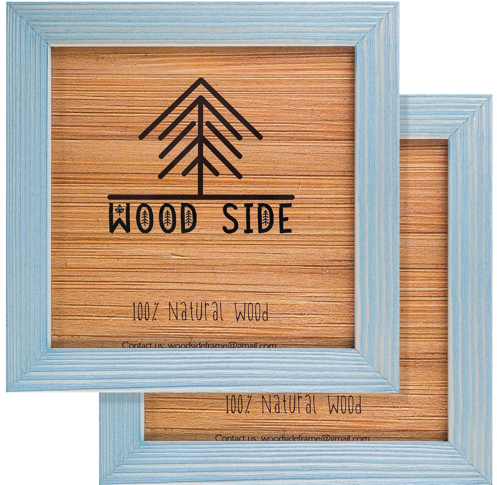 Rustic Wooden Square Picture Frames 8x8 - Set of 2-100% Natural Eco Distressed Wood with Real Glass for Wall Mounting Photo Frame - Blue Turquoise by Wood Side