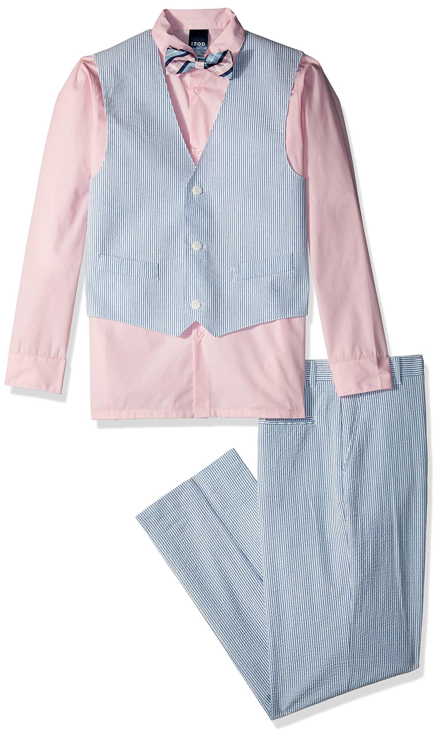 Izod boys 4-Piece Vest Set with Dress Shirt, Bow Tie, Pants, and Vest, Fairytale, 10