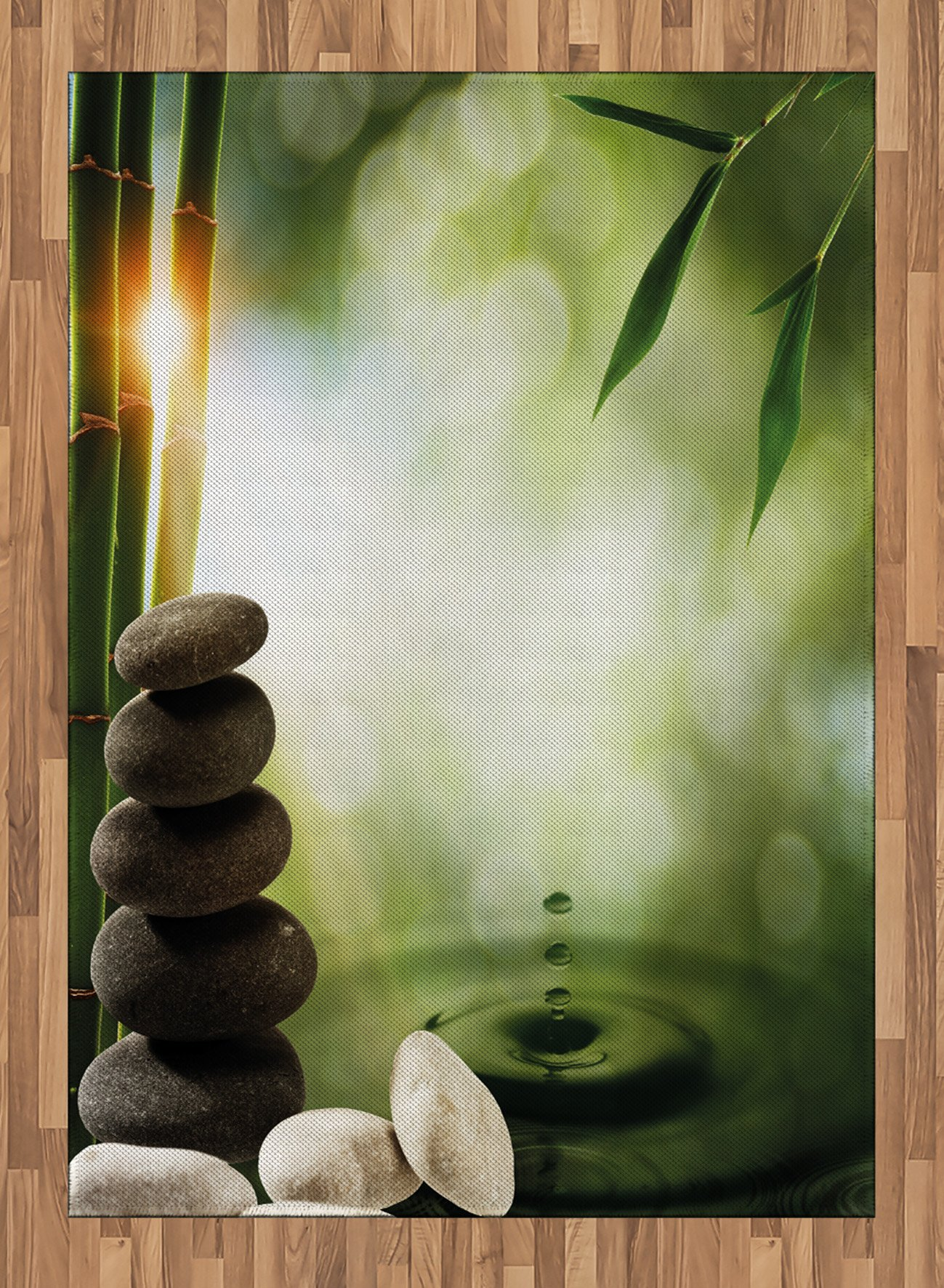 Tropical Area Rug by Lunarable, Abstract Eco Background with Bamboo Tree Water Splash Bubbles and Spa Stones, Flat Woven Accent Rug for Living Room Bedroom Dining Room, 5.2 x 7.5 FT, Green Grey White