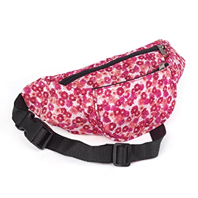 Pink Tone Flower Print Waist Bag Fanny Pack Money Bum Bag Hip Belt