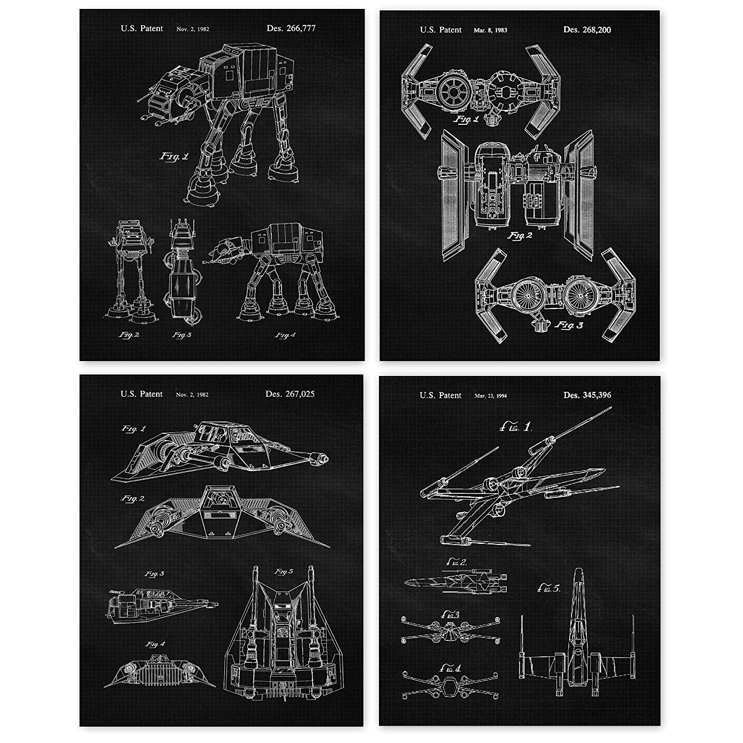 Vintage Star Wars Patent Poster Prints, Set of 4 Photos (8x10) Unframed, Great Wall Art Decor Gifts Under 20 for Home, Office, Studio, Garage, Man Cave, Shop, Student, Teacher, Comic-Con & Movies Fan