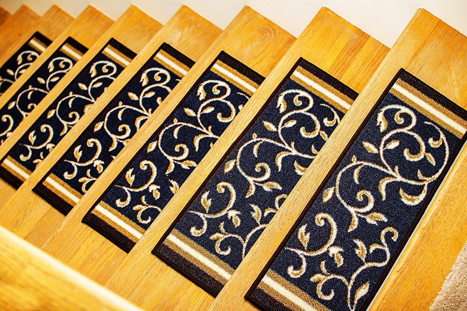 Gloria Rug Skid-Resistant Rubber Backing Gripper Non-Slip Carpet Stair Treads - Washable Stair Mat Area Rug (SET OF 7), 8.5'' x 26'', Navy Blue Floral Design