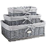 VonHaus Set of 3 Grey 100% Wicker Storage Baskets with Removable Striped Lining
