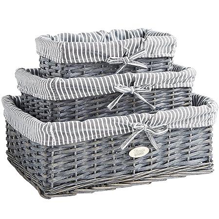 VonHaus Set of 3 100% Wicker Storage Baskets with Removable Striped Lining  sc 1 st  Amazon UK & VonHaus Set of 3 100% Wicker Storage Baskets with Removable Striped ...