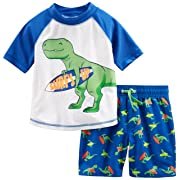 Simple Joys by Carter's Baby Boys' 2-Piece Swimsuit Trunk and Rashguard, Blue Dino, 12 Months