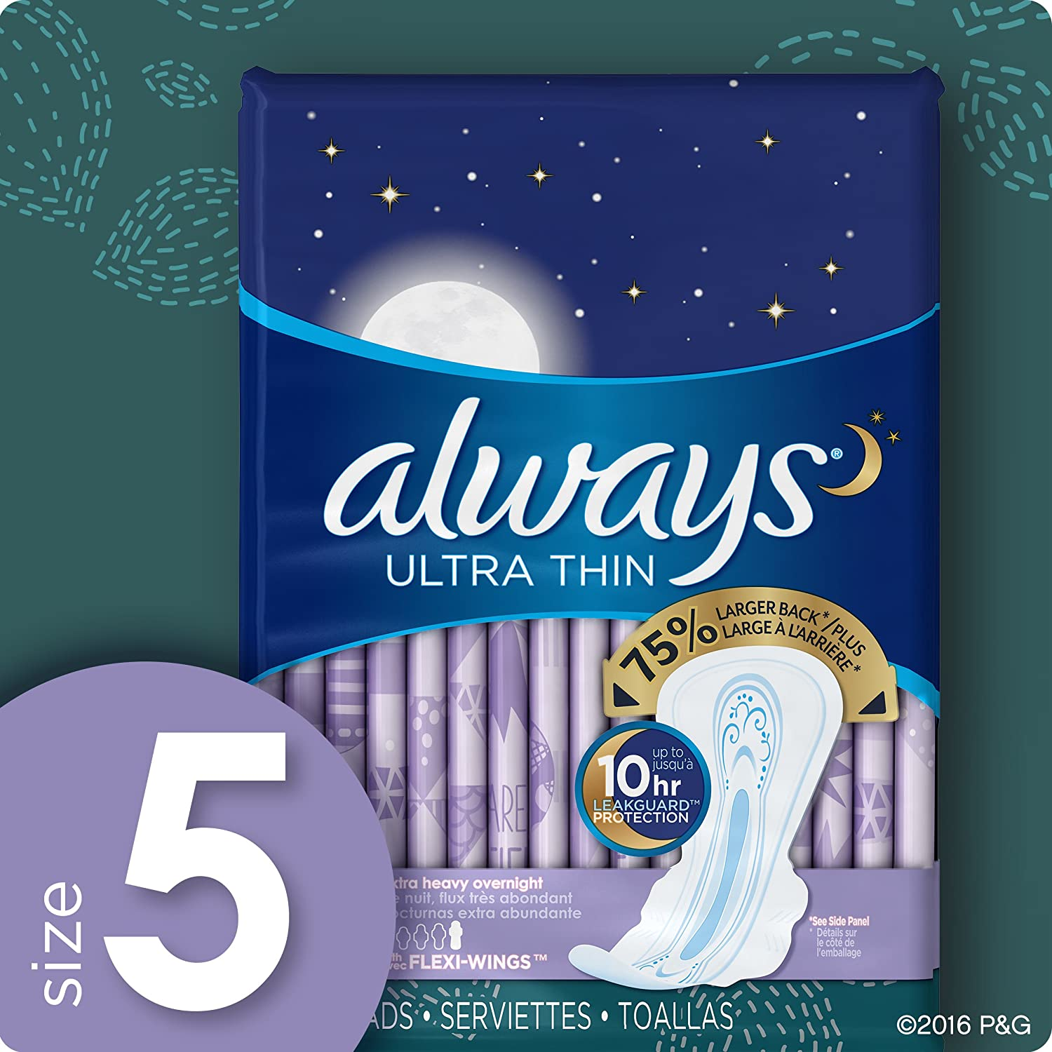 Amazon.com: Always Ultra Thin Feminine Pads for Women, Size 5, Extra Heavy, Overnight Absorbency, with Flexi-Wings, Unscented, 46 Count-Pack of 4 (184 Count ...