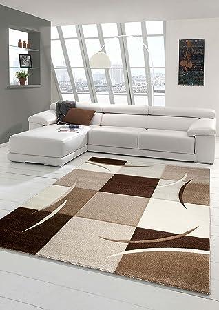 Designer Teppich Moderner Teppich Wohnzimmer Teppich Kurzflor Teppich Mit  Konturenschnitt Karo Muster Braun Beige Mocca Größe