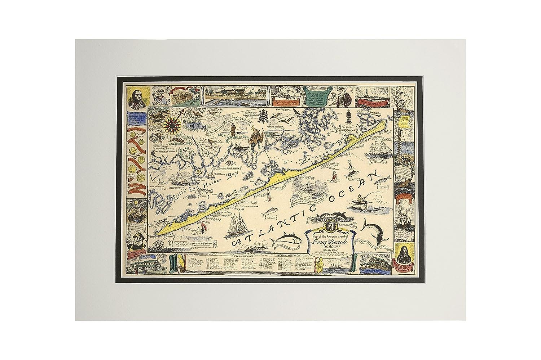 Long Beach Island、New Jersey – ヴィンテージマップ – アートワーク 11 x 14 Matted Art Print LANT-69836-11x14M B06XZYSK4J  11 x 14 Matted Art Print