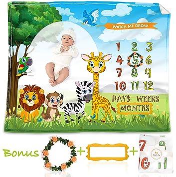 Wreath /& Marker 100/% Wrinkle-Free Huge 48x40 colored Newborn Blanket Baby Monthly Milestone Blanket for Boys /& Girls Weeks Days Photo Prop Blanket Soft Flannel Fleece Decorative Blanket Months