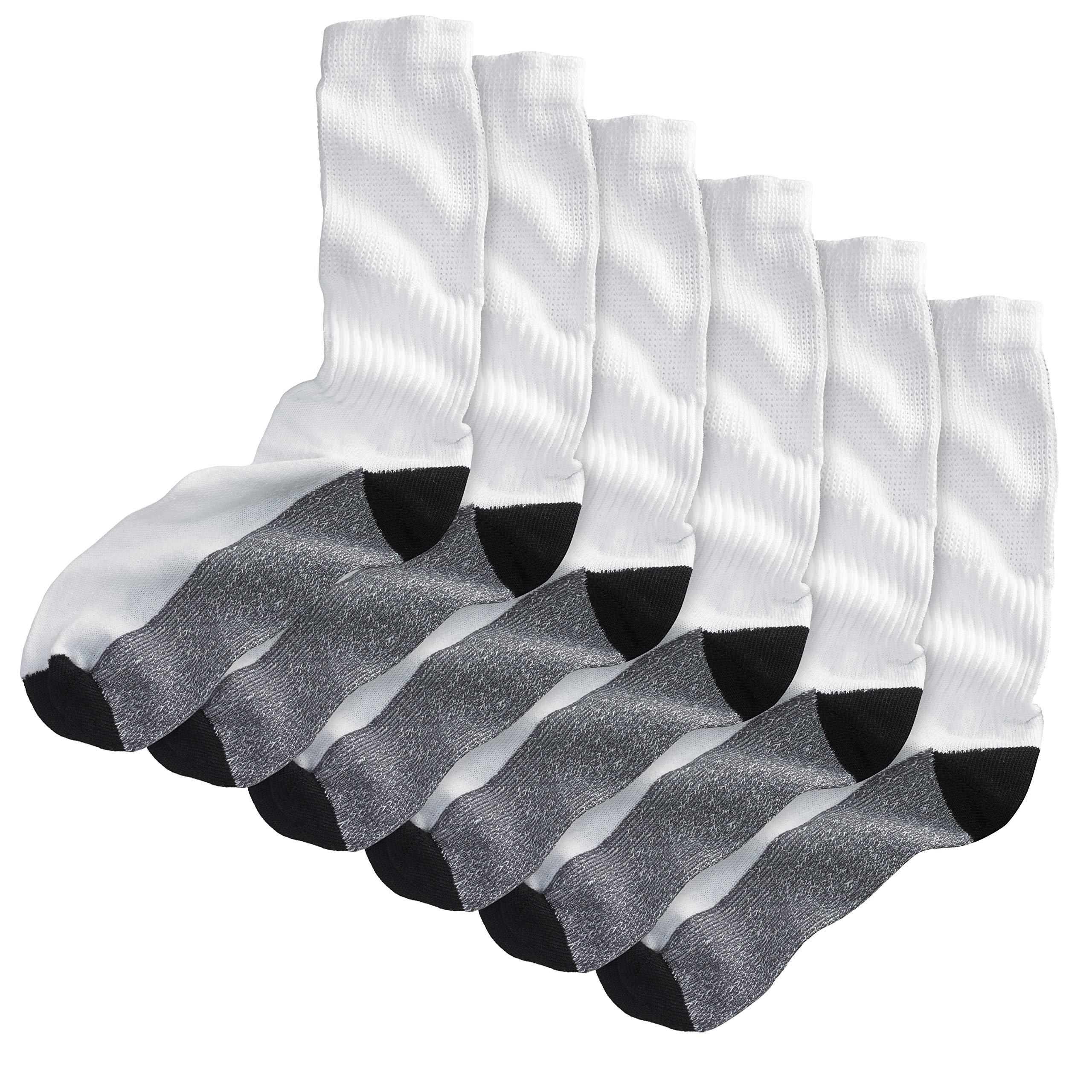 Kingsize Men's Big & Tall 3-Pack Full Length Cushioned Crew Socks, Black Big-L