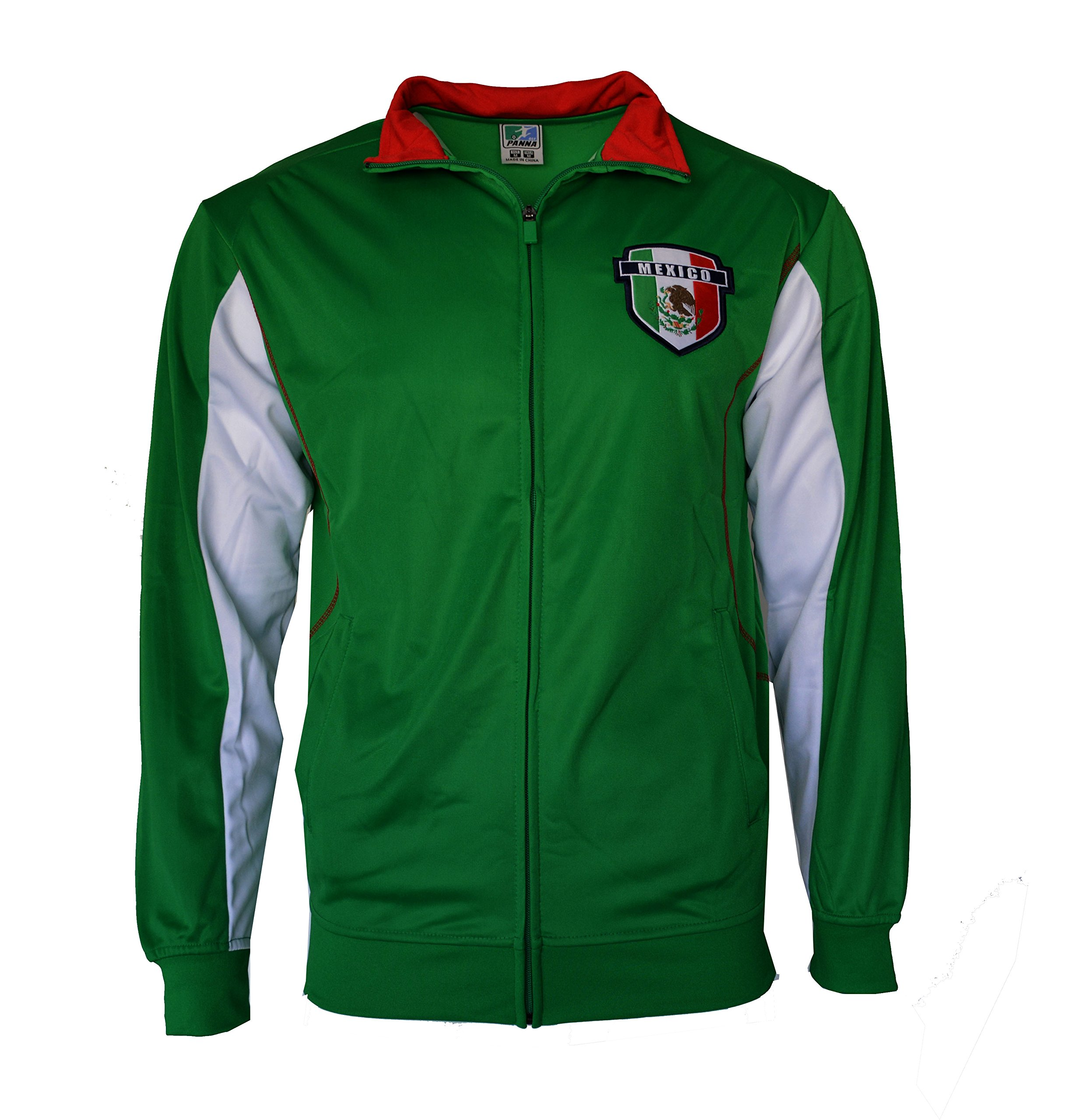 PANA Mexico Jacket Flag Track Lightweight Summer Adult Soccer Zip up (Green, L) by PANA