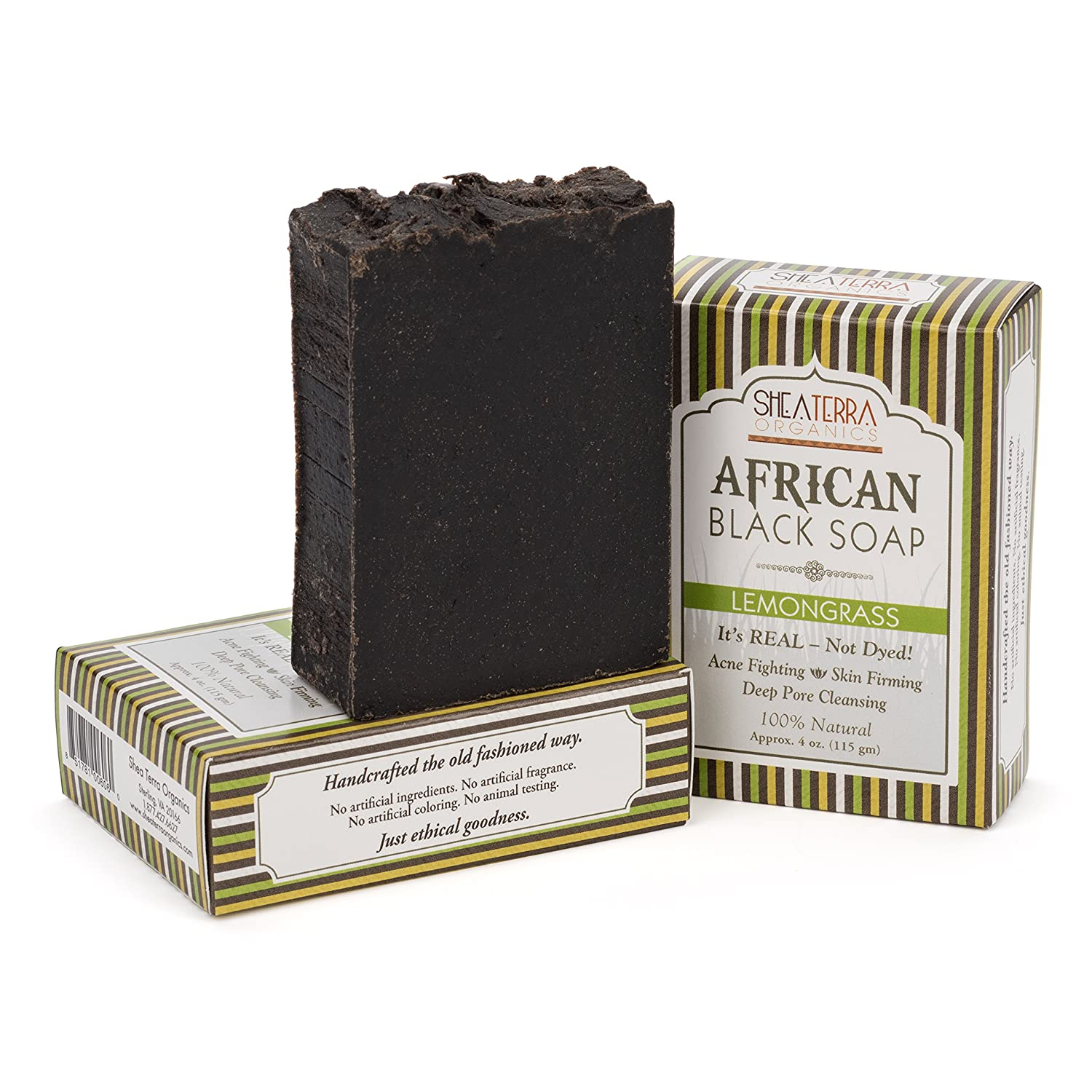 Shea Terra Organics African Black Soap Bar with Lemongrass Oil| Natural Skin Care for Acne, Eczema, Dry Skin, Psoriasis, Wrinkles, and More - Home Spa Treatment Full Body Wash - 4 oz