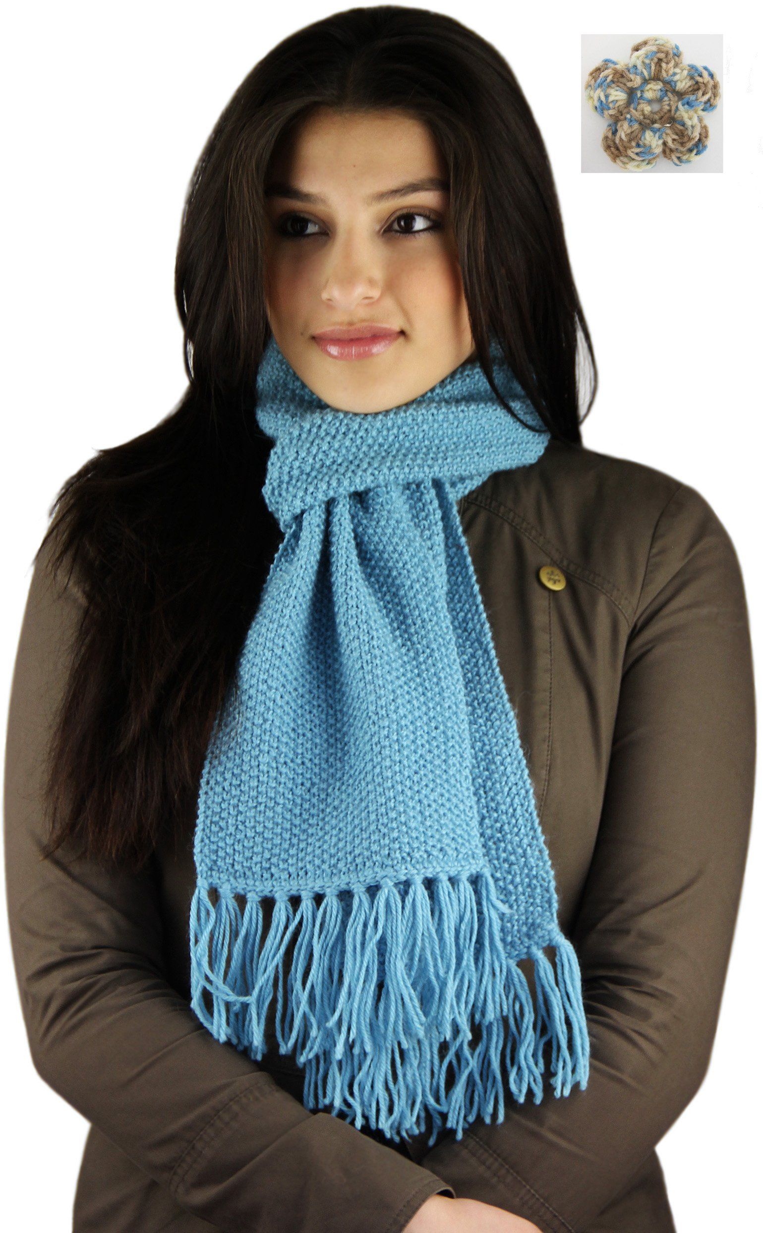 Knitted by Hand in Bolivia Pure Alpaca Winter Scarf - Made to Order