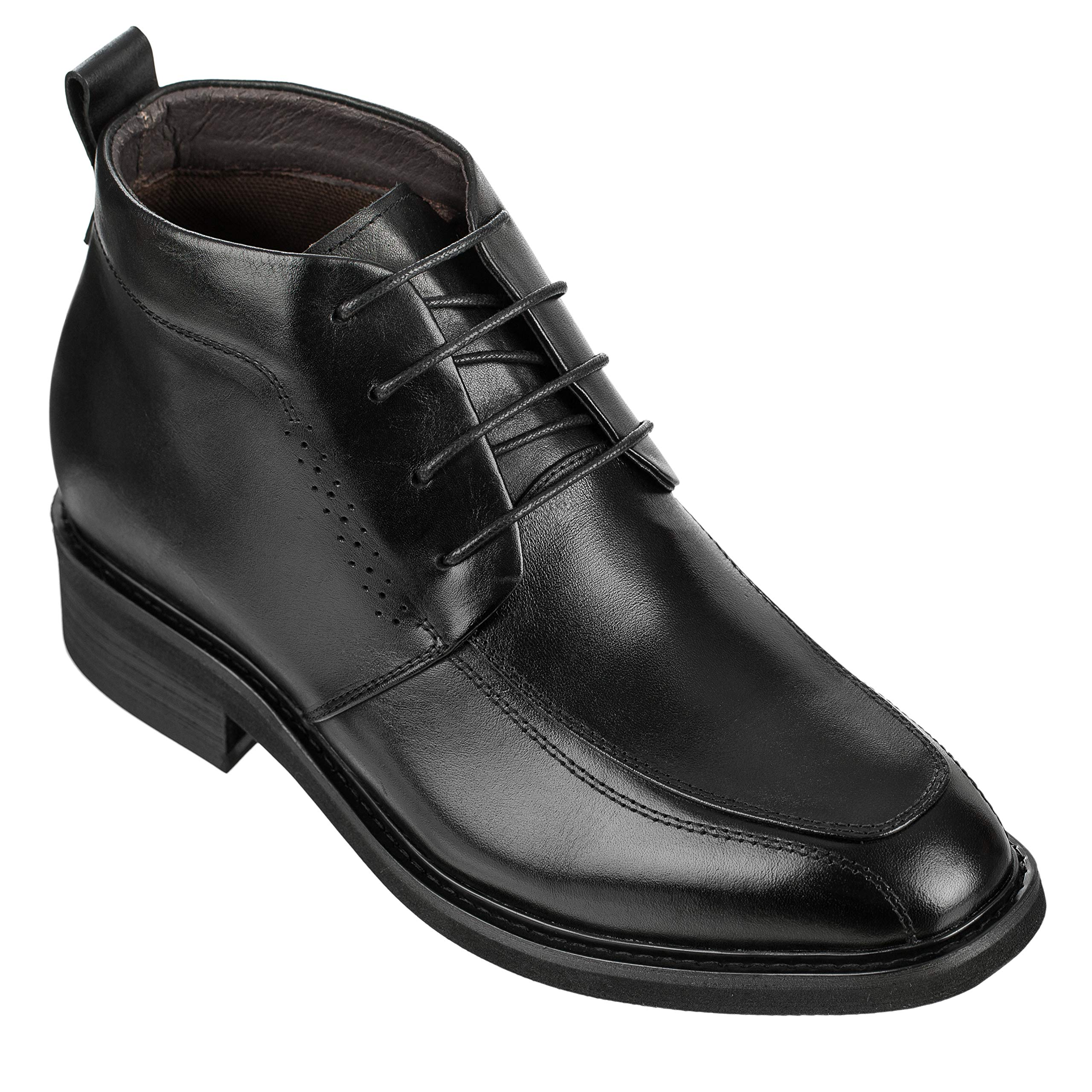 Calden Men's Invisible Height Increasing Elevator Shoes - Black Leather Lace-up Dress Formal Ankle Boots - K28801-3 Inches Taller (11 D(M) US) by Calden