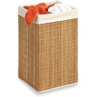 Honey-Can-Do HMP-01620 Square Wicker Hamper, Natural Bamboo/Beige Canvas, 25-Inches Tall