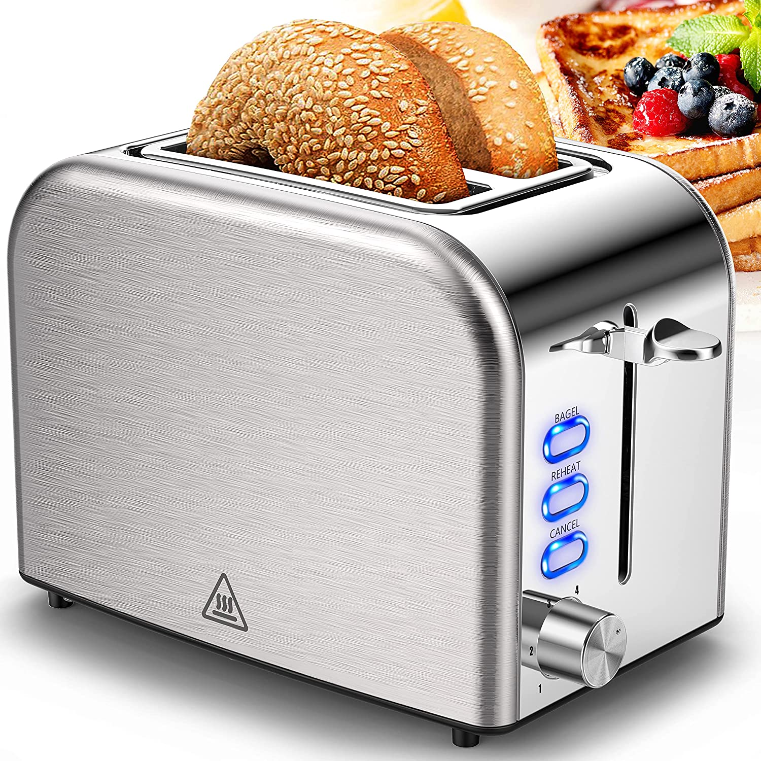 Toaster 2 Slice Toasters Stainless Steel 2 Slice Toaster Best Rated Prime Wide Slot with 6 Bread Shade Settings, Bagel, Reheat, Cancel Function, Removable Crumb Tray