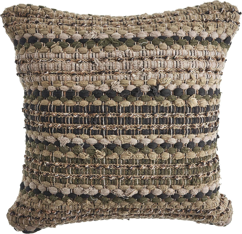 "LR Home LR07359-BBNIIPL Khaki Chevron Striped Throw Pillow 18"" x 18"" Beige/Brown"