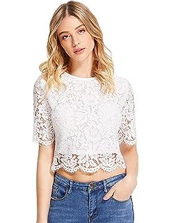 bdc024f3993 Hollywood Star Fashion Long Sleeve Lace Mock Neck Crop Top at Amazon ...
