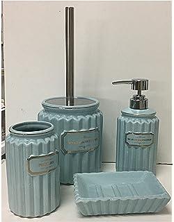Set da bagno 4 pezzi in ceramica bianca dispenser sapone liquido ...