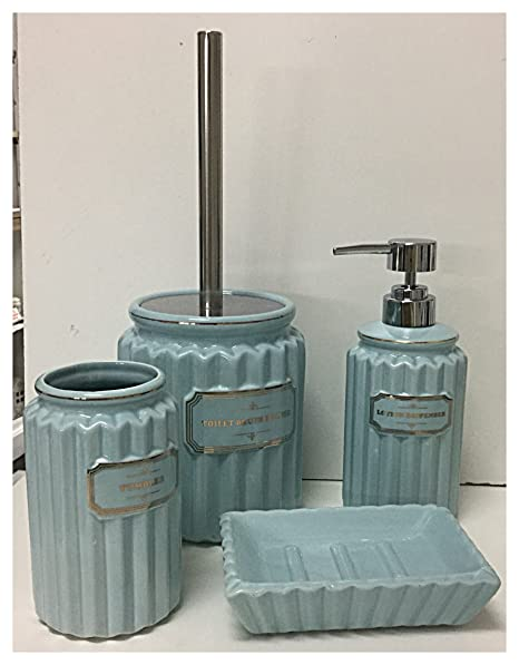 Juego de Baño 4 piezas de cerámica azul dispensador jabón líquido Porta Cepillos Jabonera Porta escobilla