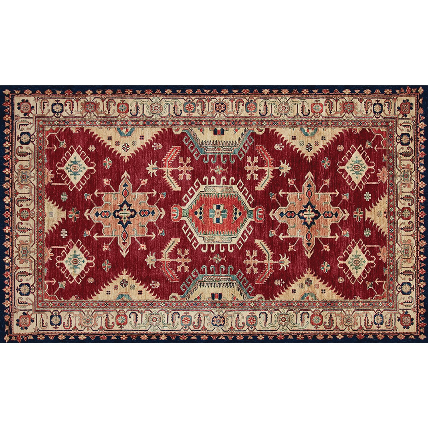 RUGGABLE Washable Indoor/Outdoor Stain Resistant 3'x5' (36''x60'') Accent Rug 2pc Set (Cover and Pad) Noor Ruby, Red