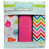 Babyville Boutique 3 Count PUL Fabric, Little Birds, Chevrons and Pink Solid