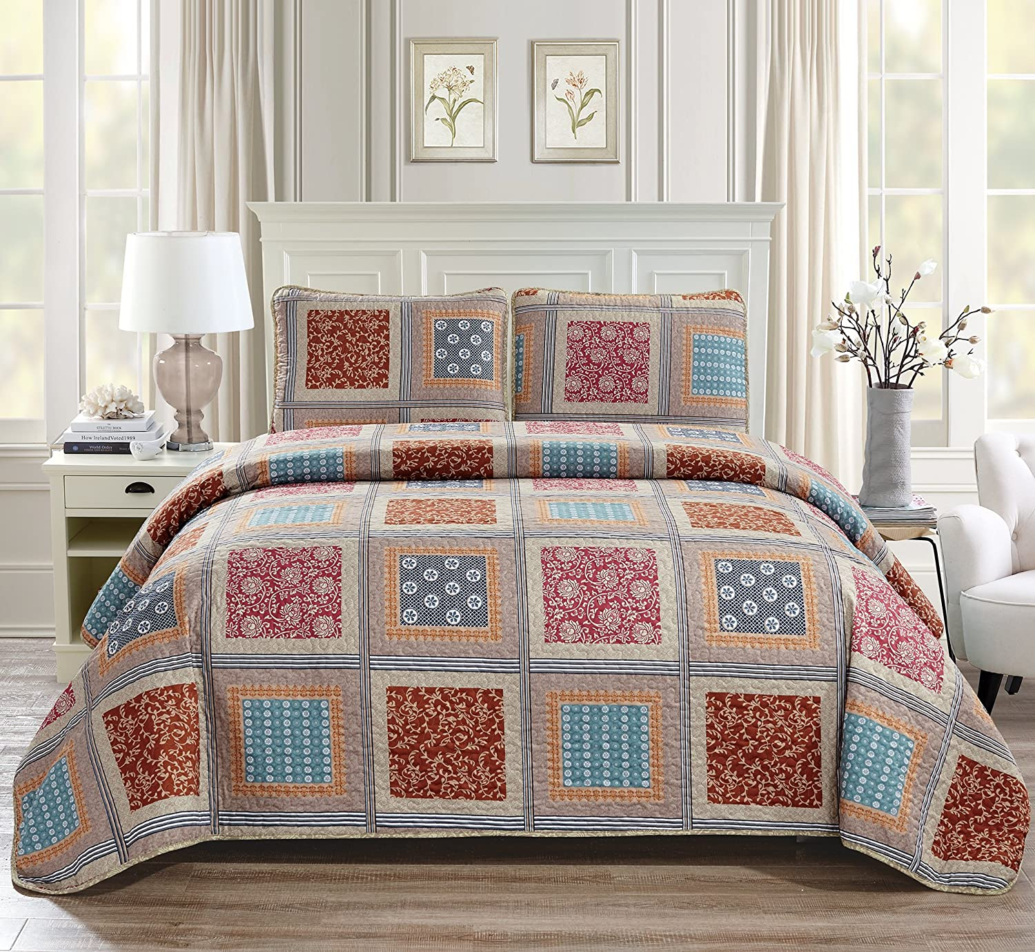 Linen Plus Twin/Twin Extra Long 2pc Quilted Bedspread Set Oversized Coverlet Floral Squares Beige Taupe Red Blue New