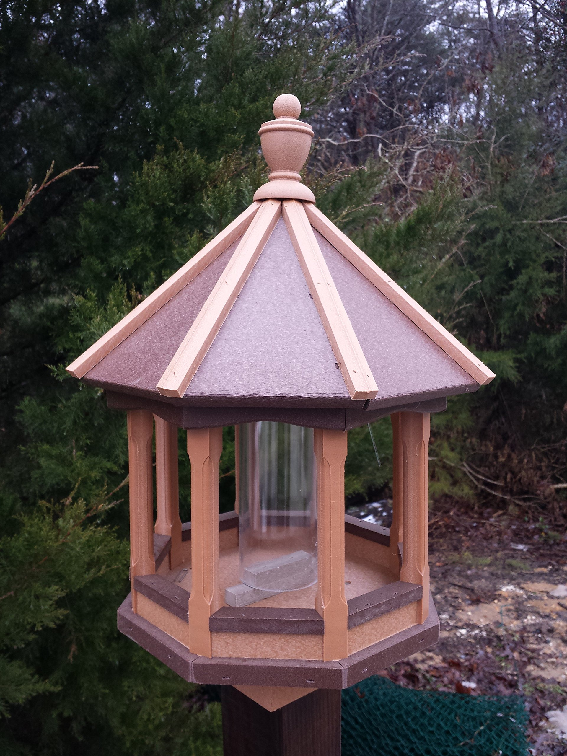 Vinyl Bird Feeder Amish Homemade Handmade Handcrafted Cedar - Brown Small