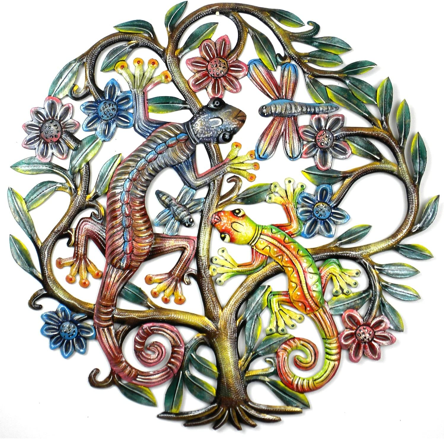 """Global Crafts 24"""" Recycled Hand-Painted Haitian Metal Wall Art, Painted Gecko in Tree of Life"""