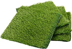 "4-Pack 12""x12"" Artificial Grass Rug Carpet, Fake Grass Synthetic Turf Mat for Pet Garden Lawn Indoor Outdoor, Green"