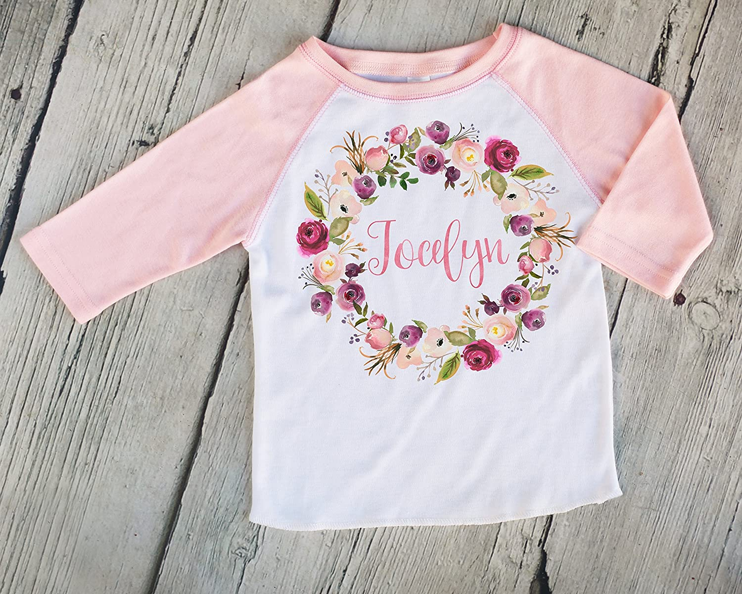 Pink Wreath Personalized Kids Raglan Shirt, Customized Kids Shirt, Girls Baseball Tee, Boho Kids Shirt, Girl Name Tee