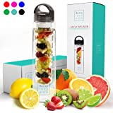 Savvy Infusion Water Bottles - 24 or 32 Ounce Fruit Infuser Bottle - Featuring Unique Leak Proof Silicone Sealed Cap with Handle - Great Gifts for Women - Includes Infused Water Recipe Ebook