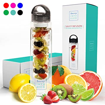 Review Savvy Infusion Water Bottles - 24 or 32 Ounce Fruit Infuser Bottle - Featuring Unique Leak Proof Silicone Sealed Cap with Handle - Great Gifts for Women
