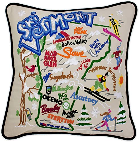 Catstudio Ski Vermont Embroidered Decorative Throw Pillow