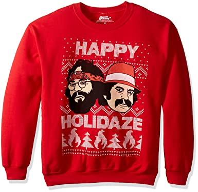 cheech and chong mens happy holidaze ugly christmas sweatshirt red small