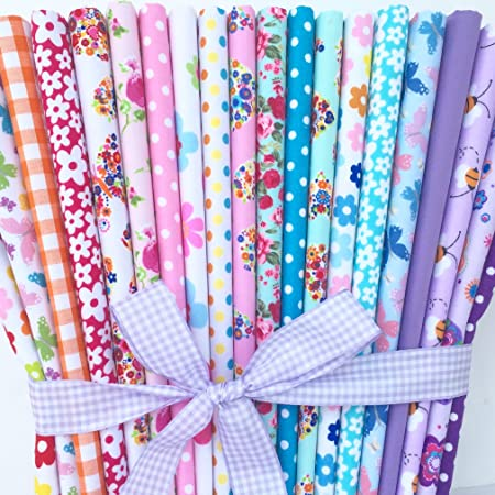 PINK FLORAL MIX POLY COTTON FABRIC BUNDLE SEWING CRAFT MATERIAL