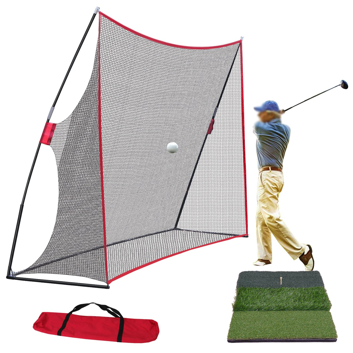 Smartxchoices 10x7ft Large Golf Net + Tri-Turf Golf Hitting Mat Combo Set for Golf Practice Hitting Pitching Hitting Training Driving with Carry Bag Backyard/Indoor/Outdoor
