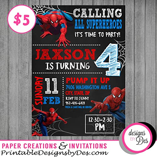 Amazon Com Spiderman Invitation Handmade