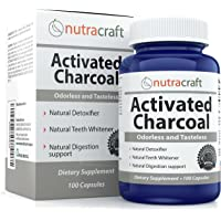 Activated Charcoal Capsules For Gas, Bloating, Detox and Teeth Whitening - Double Strength With 900mg per Serve - 100% Tasteless, Odourless & Natural - 100 Pills - Made In USA